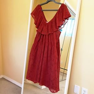 1x American Rag Rust Ruffle and Lace Dress